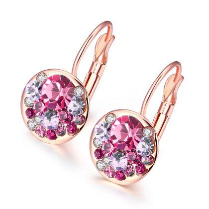 Cercei cristale rosii placati aur roze