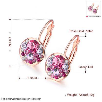 Cercei cristale rosii placati aur roze dimensiuni