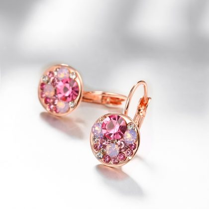 Cercei cristale rosii placati aur roze fata
