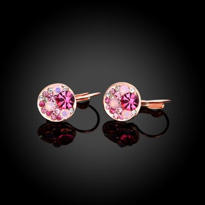 Cercei cristale rosii placati aur roze profil