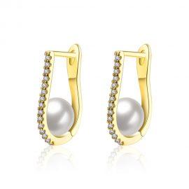 Cercei eleganti perla placati aur