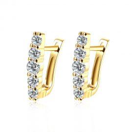 Cercei eleganti zirconiu placati aur
