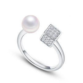 Inel ajustabil argint 925 perla zirconiu
