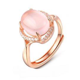Inel quartz roz argint 925 placat aur