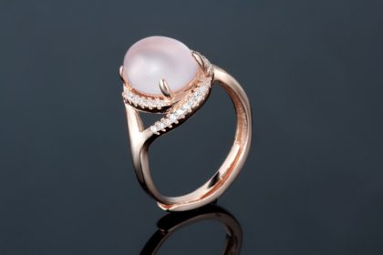 Inel quartz roz argint 925 placat aur fata
