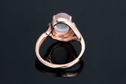 Inel quartz roz argint 925 placat aur spate