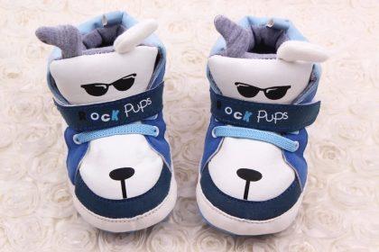 Pantofi baieti catelusi albastrii-albi 6-12 luni