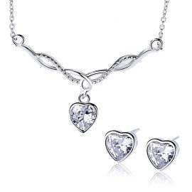 Set argint 925 inimioare colier si cercei zirconiu