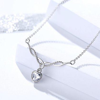 Set argint 925 inimioare colier si cercei zirconiu colier