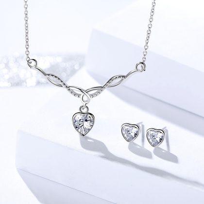 Set argint 925 inimioare colier si cercei zirconiu fata