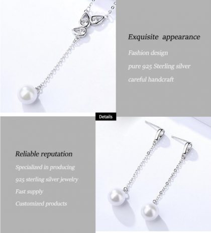 Set elegant argint 925 colier si cercei perle fata