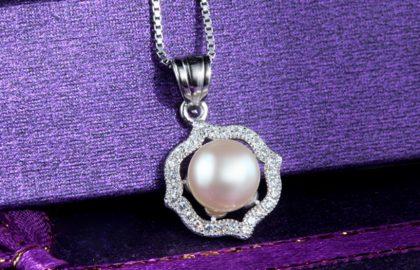 Set elegant argint 925 perle colier