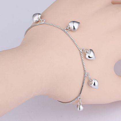 Bratara argint 925 amuleta inimioare mana