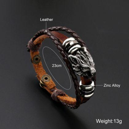 Bratara din piele maro amuleta leu detalii