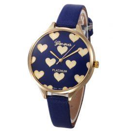Ceas feminin albastru cu inimioare