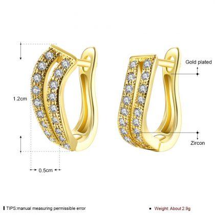 Cercei eleganti cristale placati aur detalii