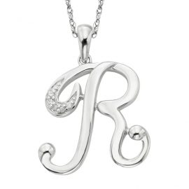Colier argint 925 zirconiu initiala R