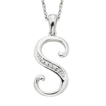 Colier argint 925 zirconiu initiala S