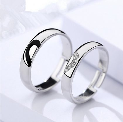 Inele cuplu argint 925 jumatate de inima fata