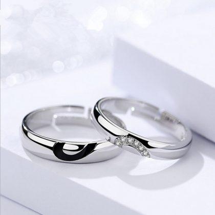 Inele cuplu argint 925 jumatate de inima sus