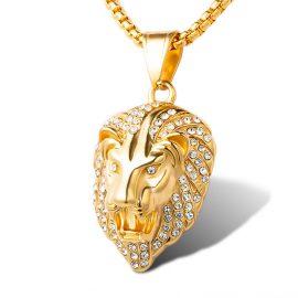 Lan placat aur pandantiv cap de leu