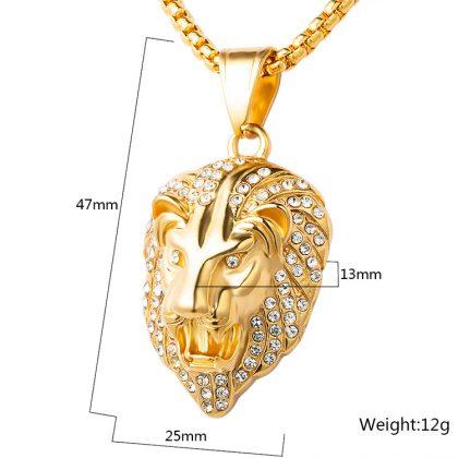 Lan placat aur pandantiv cap de leu detalii