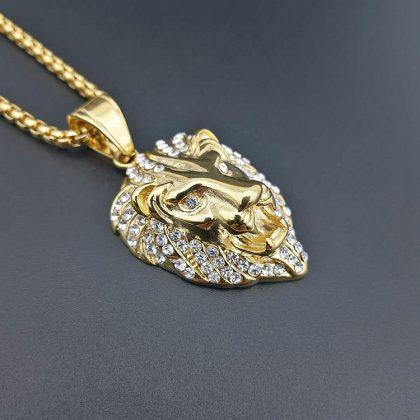 Lan placat aur pandantiv cap de leu sus