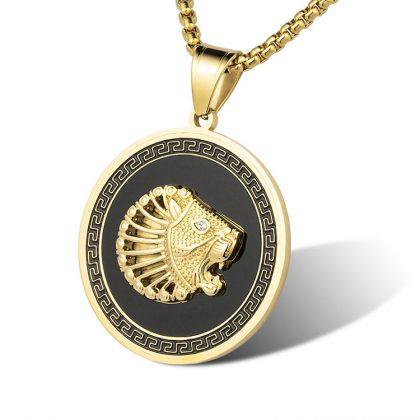 Lant barbati placat aur pandantiv leu