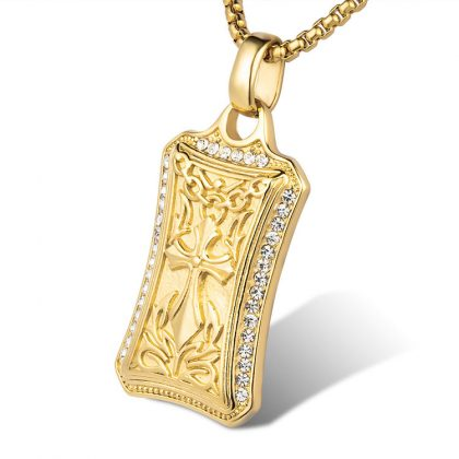 Lant placat aur pandantiv cruce gotica