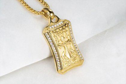 Lant placat aur pandantiv cruce gotica profil
