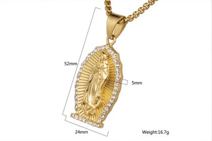Lant placat aur pandantiv religios Maria detalii