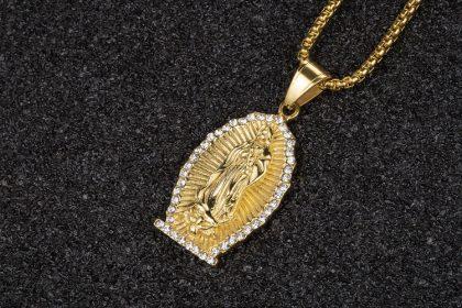 Lant placat aur pandantiv religios Maria sus