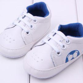 Pantofi sport albi baietei 0-6 luni
