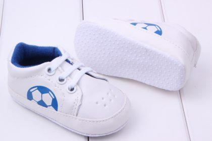 Pantofi sport albi baietei 0-6 luni talpa
