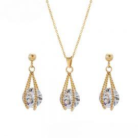 Set colier si cercei cristale placate aur 24K