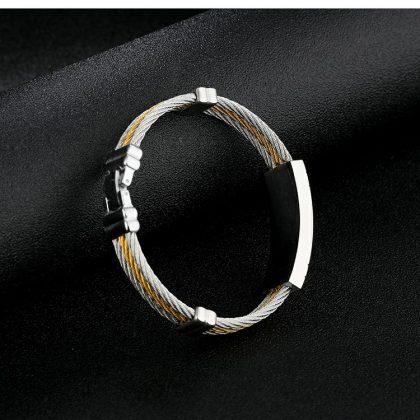 Bratara barbati stainless steel placata aur profil