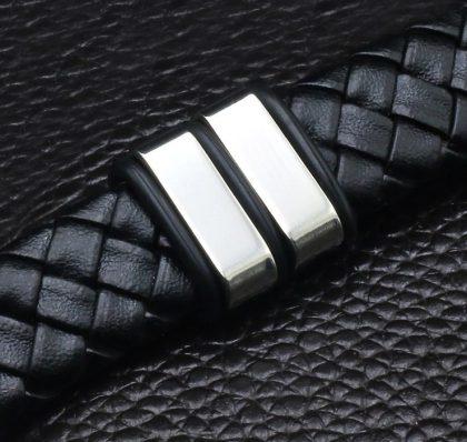 Bratara piele neagra stainless steel model