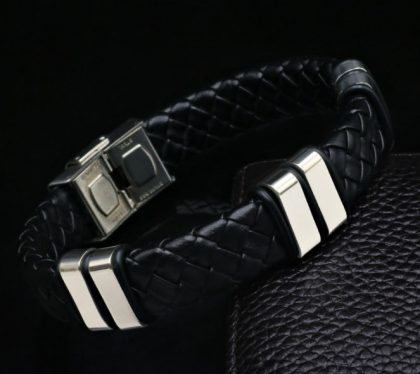Bratara piele neagra stainless steel profil