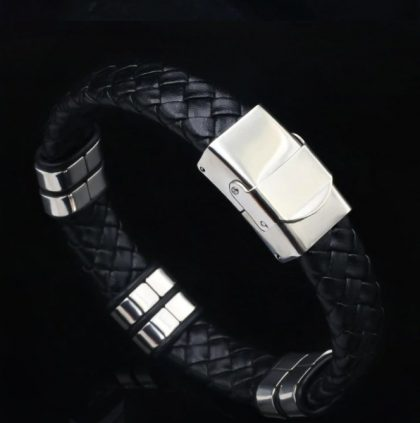 Bratara piele neagra stainless steel spate
