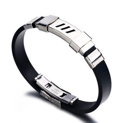 Bratara silicon unisex stainless steel
