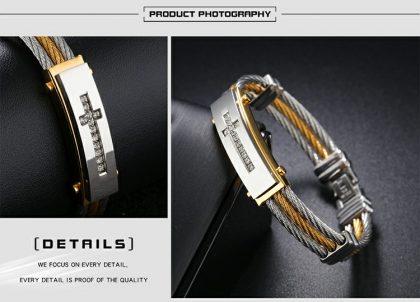 Bratara stainless steel cruciulita detalii