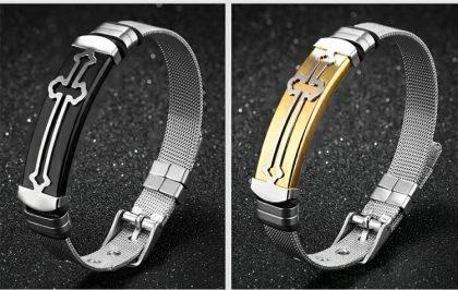 Bratari cuplu stainless steel cruciulite profil