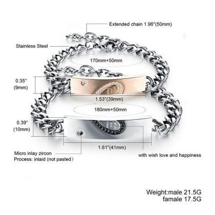 Bratari indragostiti stainless steel inimioare detalii
