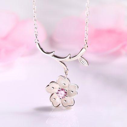 Colier argint 925 floricica Sakura fata
