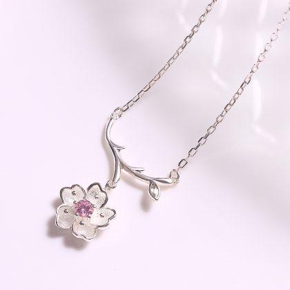 Colier argint 925 floricica Sakura sus