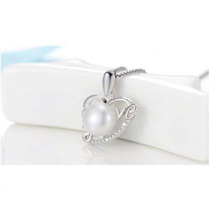 Colier argint 925 inimioara cu perla Love pandantiv