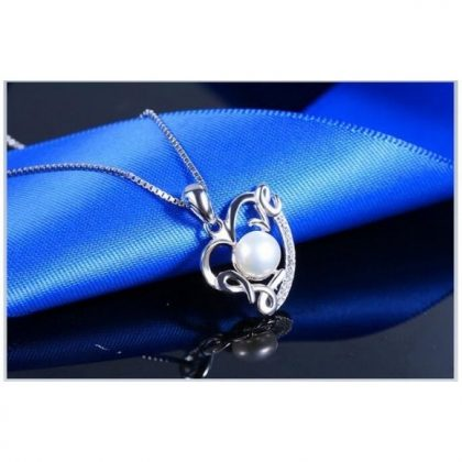 Colier argint 925 inimioara cu perla Love sus