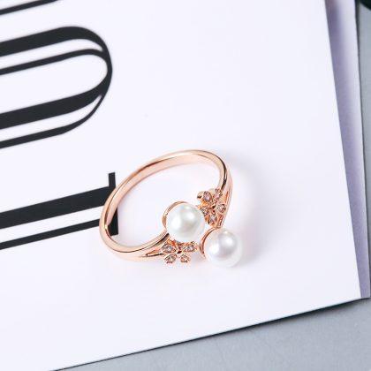 Inel ajustabil argint 925 placat aur perle profil