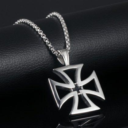 Lant pandantiv cruce stainless steel fata
