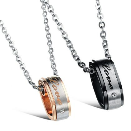 Lantisoare cuplu pandantiv inele Love stainless steel